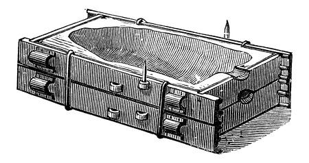 Mould Casing and Cover, vintage engraved illustration. Industrial Encyclopedia - E.O. Lami - 1875 Ilustração
