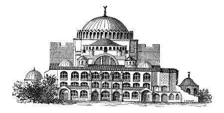 이스탄불, 터키, 빈티지 새겨진 그림 아야 소피아 (Hagia Sophia). 산업 백과 사전 - EO 라미 - 1875 일러스트