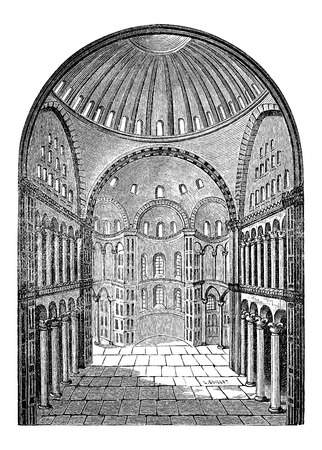 hagia sophia: Interior view of Hagia Sophia in Istanbul, Turkey, vintage engraved illustration. Industrial Encyclopedia - E.O. Lami - 1875