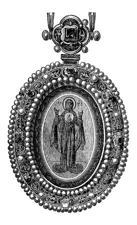 byzantine: Byzantine Jewel with an image of a Saint, vintage engraved illustration. Industrial Encyclopedia - E.O. Lami - 1875