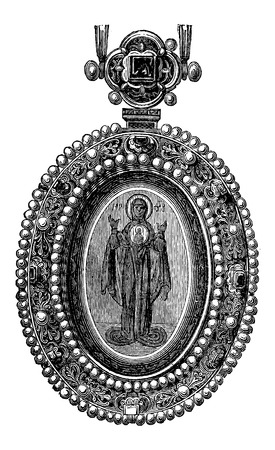 Byzantine Jewel with an image of a Saint, vintage engraved illustration. Industrial Encyclopedia - E.O. Lami - 1875