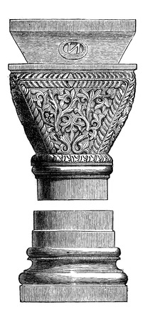roman empire: Byzantine Art Object at the Basilica of San Vitale in Ravenna, Italy, vintage engraved illustration. Industrial Encyclopedia - E.O. Lami - 1875 Illustration