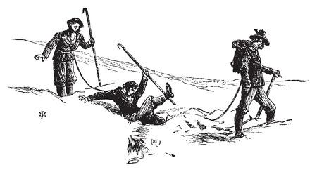 Een daling van de gletsjers, vintage gegraveerde illustratie. Le Tour du Monde, Travel Journal, (1872). Stock Illustratie