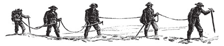 Wandelen in de gletsjers, vintage gegraveerde illustratie. Le Tour du Monde, Travel Journal, (1872).
