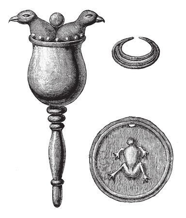 Bone objects found in the tombs of Turbaco, vintage engraved illustration. Le Tour du Monde, Travel Journal, (1872).  イラスト・ベクター素材