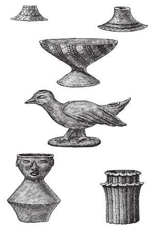 urn: Clay objects found in the tombs of Turbaco, vintage engraved illustration. Le Tour du Monde, Travel Journal, (1872). Illustration