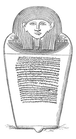 hebrew alphabet: Sarcophagus of Eshmunazar, Phoenician king of Sidon, vintage engraved illustration. Le Tour du Monde, Travel Journal, 1881