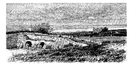 Tell Jisr Bridge in Beqaa Valley, Lebanon, vintage engraved illustration. Le Tour du Monde, Travel Journal, 1881 Ilustrace