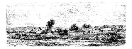 웨스트 뱅크, 이스라엘, 빈티지 새겨진 그림 예닌의 도시. 르 투어 뒤 몽드, 트래블 저널, 1881 일러스트