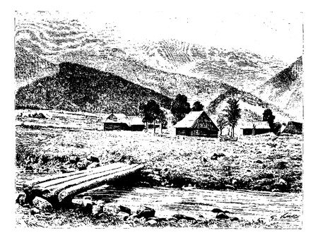 Huts of the Village of Zakopane in Tatra, Poland, drawing by G. Vuillier from a photograph, vintage engraved illustration. Le Tour du Monde, Travel Journal, 1881 Vectores