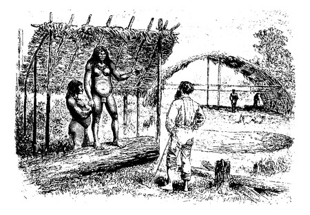 dr: Aracoupina, a Native Woman Leader in Oiapoque, Brazil, drawing by Riou from a sketch by Dr. Crevaux, vintage engraved illustration. Le Tour du Monde, Travel Journal, 1880