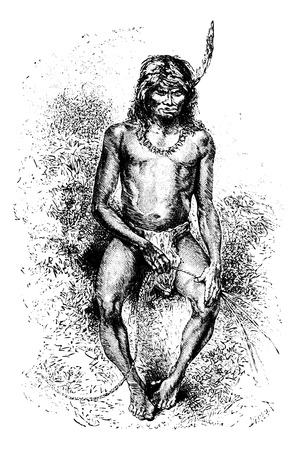 french culture: Native Man Making a Rope in Oiapoque, Brazil, drawing by Riou from a sketch by Dr. Crevaux, vintage engraved illustration. Le Tour du Monde, Travel Journal, 1880