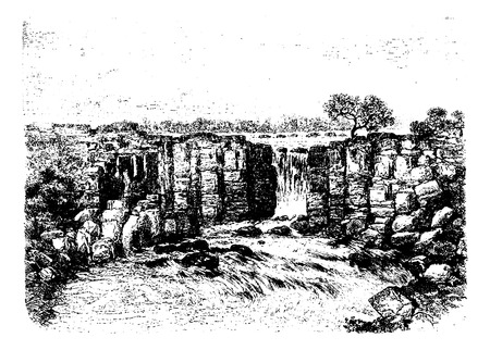 cliff edge: Panama Falls in Oiapoque, Brazil, drawing by Riou from a sketch by Dr. Crevaux, vintage engraved illustration. Le Tour du Monde, Travel Journal, 1880 Illustration