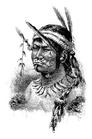 Coreguaje indienne d'Amazonas, au Brésil, en tirant par Riou d'une photographie, millésime gravé illustration. Le Tour du Monde, Voyage Journal, 1881 Vecteurs