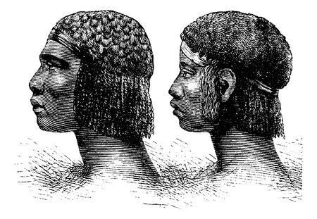 Huambo homme et la femme de l'Angola en Afrique australe, gravure basés sur l'édition anglaise, illustration vintage. Le Tour du Monde, Voyage Journal, 1881