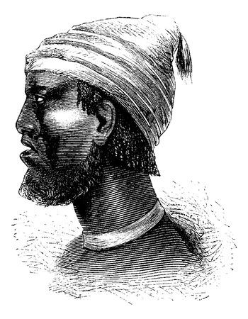 Chef de Chindonga de l'Angola en Afrique australe, la gravure basée sur l'édition anglaise, illustration vintage. Le Tour du Monde, Voyage Journal, 1881