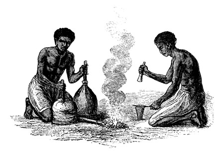 southern africa: Blacksmiths of Caquingue in Angola in Southern Africa, engraving based on the English edition, vintage illustration. Le Tour du Monde, Travel Journal, 1881