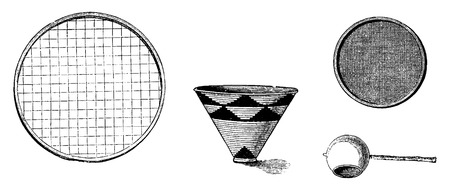african tribe: Utensils from Bie in Angola in Southern Africa - Large Sieve for Drying Rice or Corn Flour, Water Pail, Cloth Strainer, Large Spoon for Basting, engraving based on the English edition, vintage illustration. Le Tour du Monde, Travel Journal, 1881 Illustration