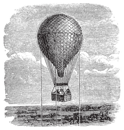hot air balloon: Antique aerostat or hot air balloon vintage illustration. Old engraving of a hot air balloon up in the sky, attached by ropes.