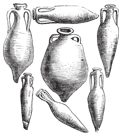 Greek and Roman amphora vases vintage engraving.. Old engraved illustration of amphoras, in vector, isolated against a white background. Illustration