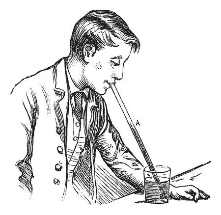 atmospheric pressure: Atmospheric pressure on a liquid, vintage engraving. Old engraved illustration of Atmospheric pressure on a liquid by man. Illustration