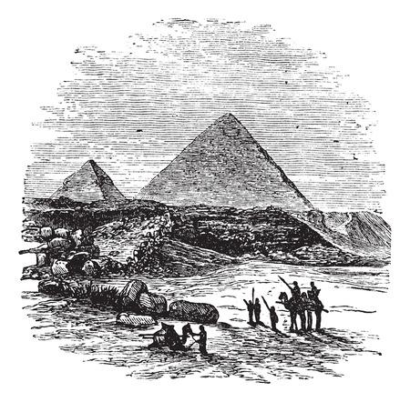 giza: The Pyramids of Giza,vintage engraved illustration.Trousset encyclopedia (1886 - 1891).