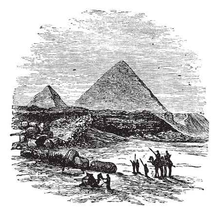 The Pyramids of Giza,vintage engraved illustration.Trousset encyclopedia (1886 - 1891).