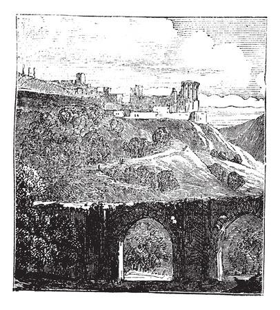archaeological: Samaria o Shomron en Israel, durante la d�cada de 1890, el grabado de �poca. Ilustraci�n del Antiguo grabado de Samaria. Vectores