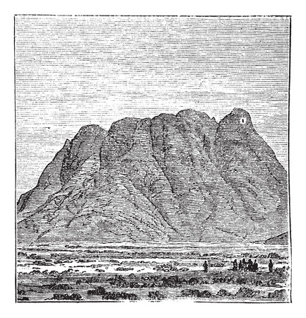 peninsula: Mount Sinai or Mount Horeb or Mount Musa or Gabal Musa in Sinai Peninsula, Egypt, during the 1890s, vintage engraving. Old engraved illustration of Mount Sinai.