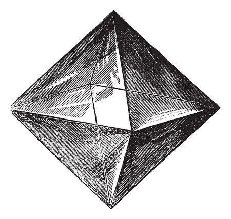 spinel: Spinel, vintage engraving. Old engraved illustration of Spinel isolated on a white background.