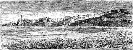 taylor: Egyptian Port in the City of Sidon in Lebanon, vintage engraved illustration. Le Tour du Monde, Travel Journal, 1881