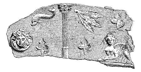 receptacle: Fragment of a Sarcophagus found at the Necropolis of Hanaoueh near Tyre, Lebanon, vintage engraved illustration. Le Tour du Monde, Travel Journal, 1881
