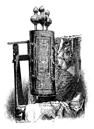 Torah or Jewish Bible, vintage engraved illustration. Le Tour du Monde, Travel Journal, 1881