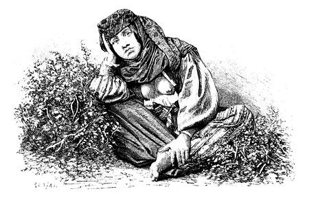 palestine: Woman from Beitin in West Bank, Israel, vintage engraved illustration. Le Tour du Monde, Travel Journal, 1881 Illustration