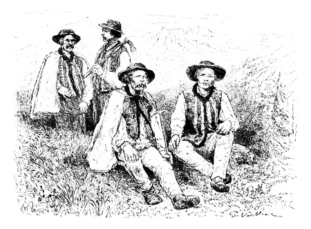 tatras: Main Physiognomic Types of the Podhales of the Tatra Mountains, Poland, drawing by G. Vuillier, from a photograph by Dr. Gustave le Bon, vintage engraved illustration. Le Tour du Monde, Travel Journal, 1881 Illustration