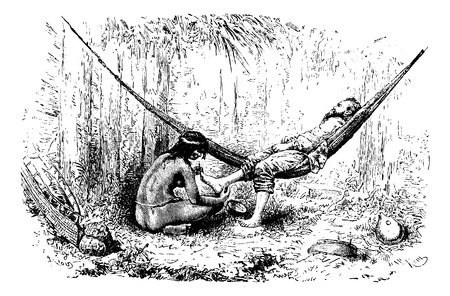 removing: Native Woman Removing Jiggers From Feet in Oiapoque, Brazil, drawing by Riou from a sketch by Dr. Crevaux, vintage engraved illustration. Le Tour du Monde, Travel Journal, 1880