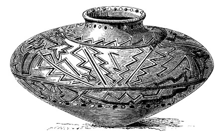 amazonas: Orejone Indian Pottery from Amazonas, Brazil, drawing by Sellier, vintage engraved illustration. Le Tour du Monde, Travel Journal, 1881
