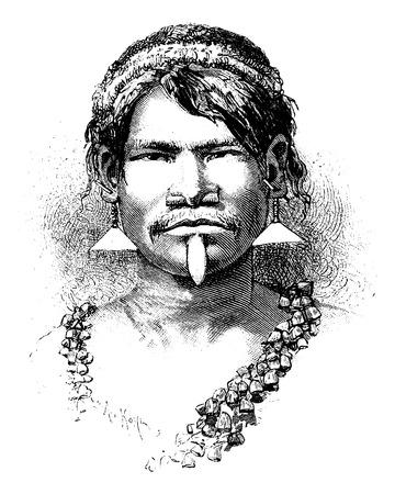 사진, 빈티지 새겨진 그림에서 리우에 의해 그리기 나스, 브라질의 Carijona 인도,. 르 투어 뒤 몽드, 트래블 저널, 1881