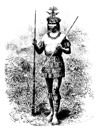 Coreguaje indienne d'Amazonas, au Brésil, en tirant par Riou d'une photographie, millésime gravé illustration. Le Tour du Monde, Voyage Journal, 1881