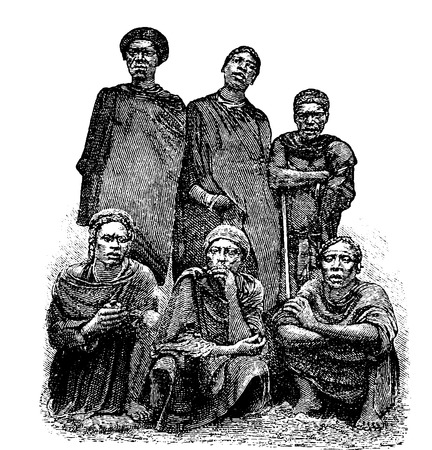 africa antique: Mandombe Men of Congo, Central Africa, engraving based on the English edition, vintage illustration. Le Tour du Monde, Travel Journal, 1881 Illustration
