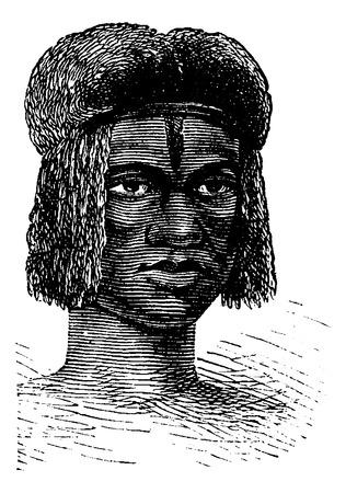Zambo Femme d'Afrique, gravure basée sur l'édition anglaise, illustration vintage. Le Tour du Monde, Voyage Journal, 1881 Banque d'images - 37387119
