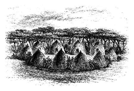Camp situé entre Chambi et Bie de l'Angola en Afrique australe, la gravure basée sur l'édition anglaise, illustration vintage. Le Tour du Monde, Voyage Journal, 1881 Vecteurs