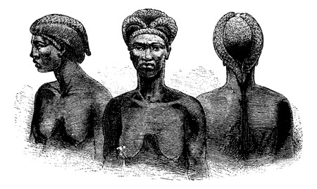 southern africa: Ganguela Women from the Edges of the Kavango River in Angola in Southern Africa, engraving based on the English edition, vintage illustration. Le Tour du Monde, Travel Journal, 1881 Illustration