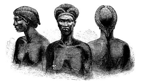 Ngangela femmes à partir des bords de la rivière Kavango en Angola en Afrique australe, la gravure sur la base de l'édition anglaise, illustration vintage. Le Tour du Monde, Voyage Journal, 1881