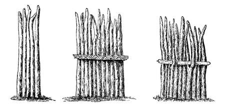 Types of Fencing - Simple, Reinforced with Wicker Rope, and Reinforced with a Pole Inserted Into Forks, engraving based on the English edition, vintage illustration. Le Tour du Monde, Travel Journal, 1881