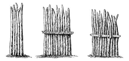 Types d'Escrime - simple, renforcé avec Wicker Corde, et renforcé avec un pôle inséré dans Forks, gravure basée sur l'édition anglaise, illustration vintage. Le Tour du Monde, Voyage Journal, 1881 Vecteurs