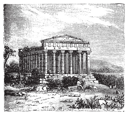 rubble: Old engraving of the Temple of Concord, Templum Concordiae, in Agrigente, Rome, Italy. Vintage engraved illustration of the temple dedicated to the goddess Concordia.