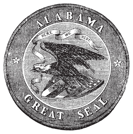 great seal: Il Gran Sigillo dello Stato dell'Alabama incisione vintage. Old illustrazione antica del grande sigillo Alabam. Sigillo rotondo con l'aquila e in possesso di tre frecce nel suo artiglio e una banderuola in suo becco