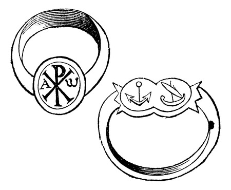 Two christian episcopal rings with symbols vintage engraving. Old engraved illustration of a bishp or archbishop ring, with the fish, dove and monogram of Christ, and the other with fin and branch. 일러스트