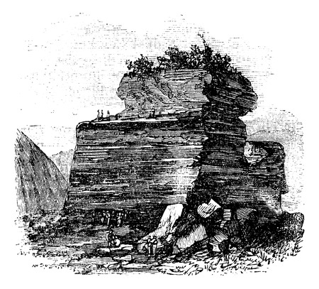 Outdoor Anthracity quarry at Summit Hill, on  Mount Mauch Chunk, Pensilvania. Vintage engraving. Old engraved illustration of an outdoor anthracite quarry, with worker extracting it.